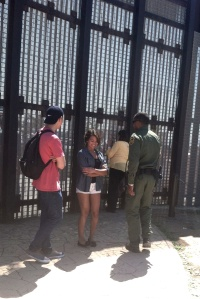 Border patrol agent telling the young lady who traveled from Anaheim that it was time to leave.